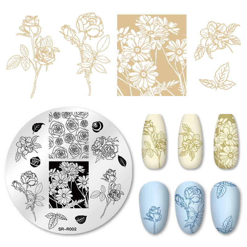 Four Lily Nail Stamping Plates Flower Leaves geometric Round Rectangle Stainless Steel Nail Image Stencils Stamping Template