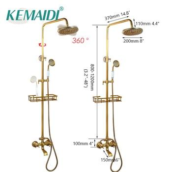 KEMAIDI Solid Brass Bathroom Mounted Brass Rainfall Shower Faucet Set Antique Brass Handshower Bathtub Shower Faucets 10 Choice фото