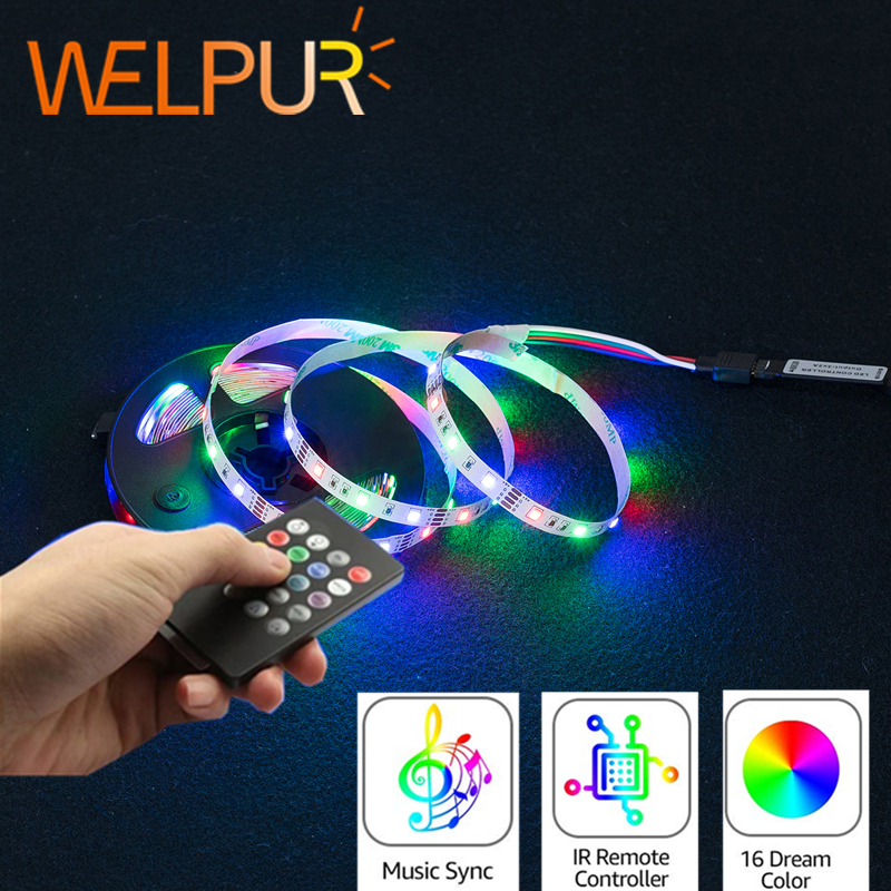 Tira de luces Led USB de 5V, tira de luces LED RGB de 2835, tira de música de 2835, banda Flexible Led IP65, cinta adhesiva iluminación de fondo de TV
