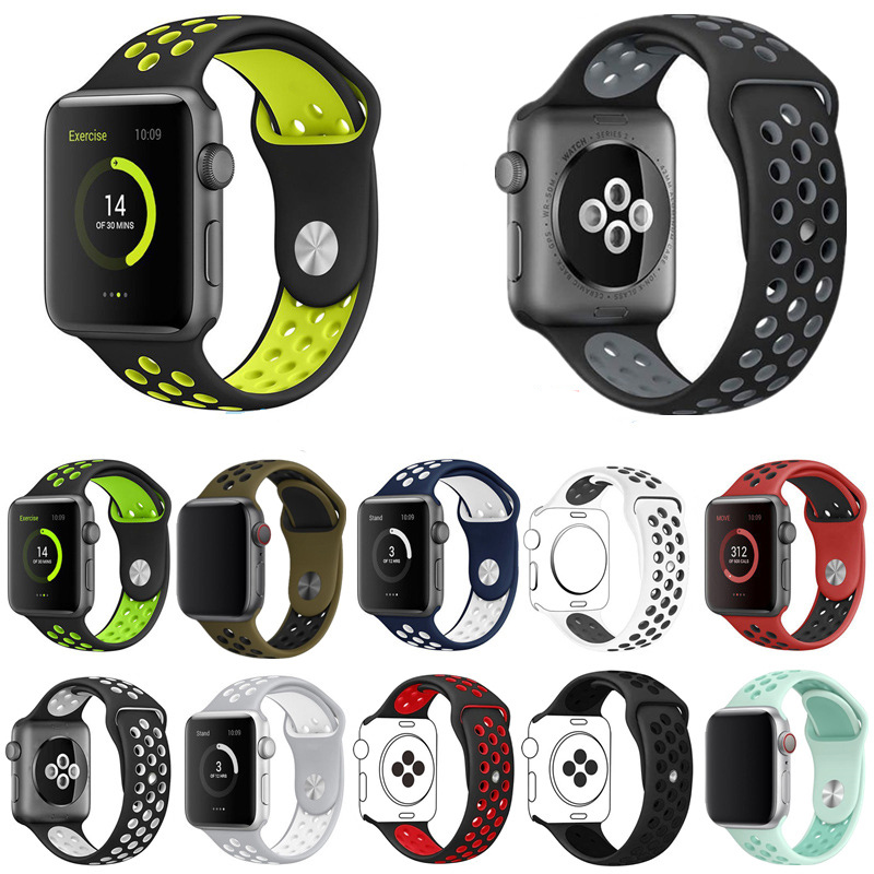 Two-color Silicone Sport Loop Band For Apple Watch Series 54321 38/40mm 42/44mm