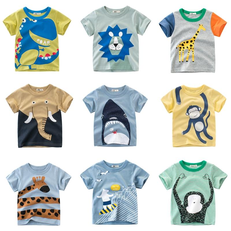 Children Summer Short Sleeve T-shirt Casual Tops Clothing Baby Boys Cartoon T-shirts Animals Print Kids Cotton T Shirt For Girls