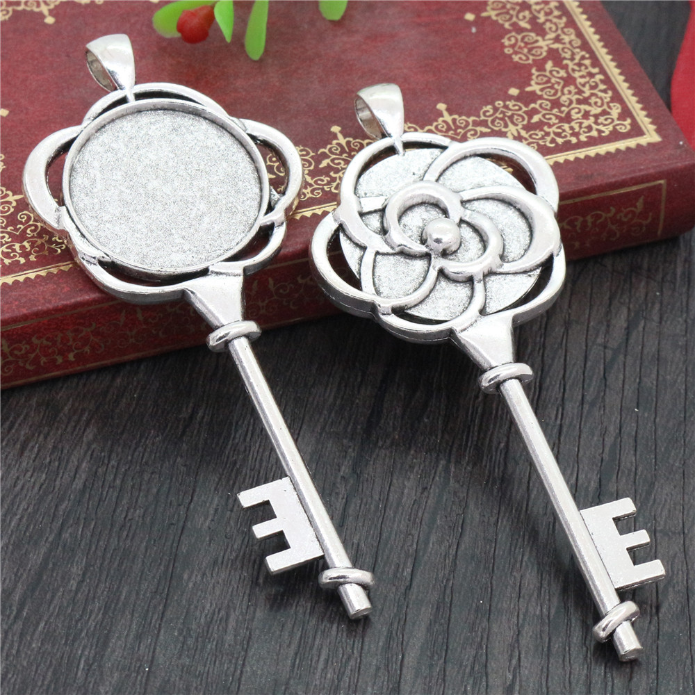 2pcs 25mm Inner Size Antique Silver Plated Key Style Cabochon Base Setting Charms Pendant (A3-38)