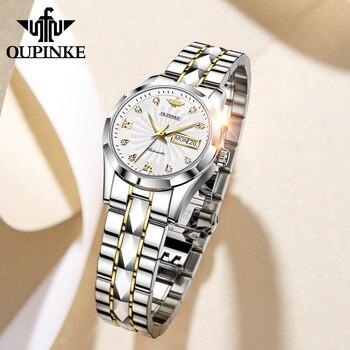 OUPINKE Top Luxury Women Wristwatch Automatic Mechanical Waterproof Watches Sapphire Mirror Tungsten Steel Watchstrap Lady Watch 1