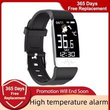 درجة حرارة الجسم ساعة ذكية مقاوم للماء بلوتوث الرياضة Smartwatch للرجال النساء معدل ضربات القلب سوار لياقة بدنية ل IOS Andoid جديد