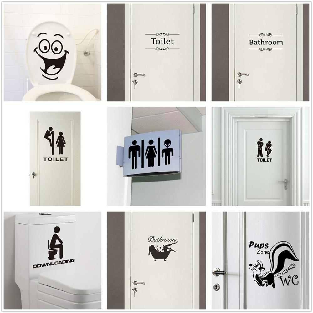WC Toilet Entrance Sign Home Decoration Creative Pattern Wall Decals Diy Funny Vinyl Mural Art  Door Stickers For Public Place