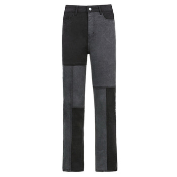 Women's 2021 New Street Fashion And High Street Gray Black Jointed High-Waisted Slimming Straight-leg Jeans Loose Long Trousers 4