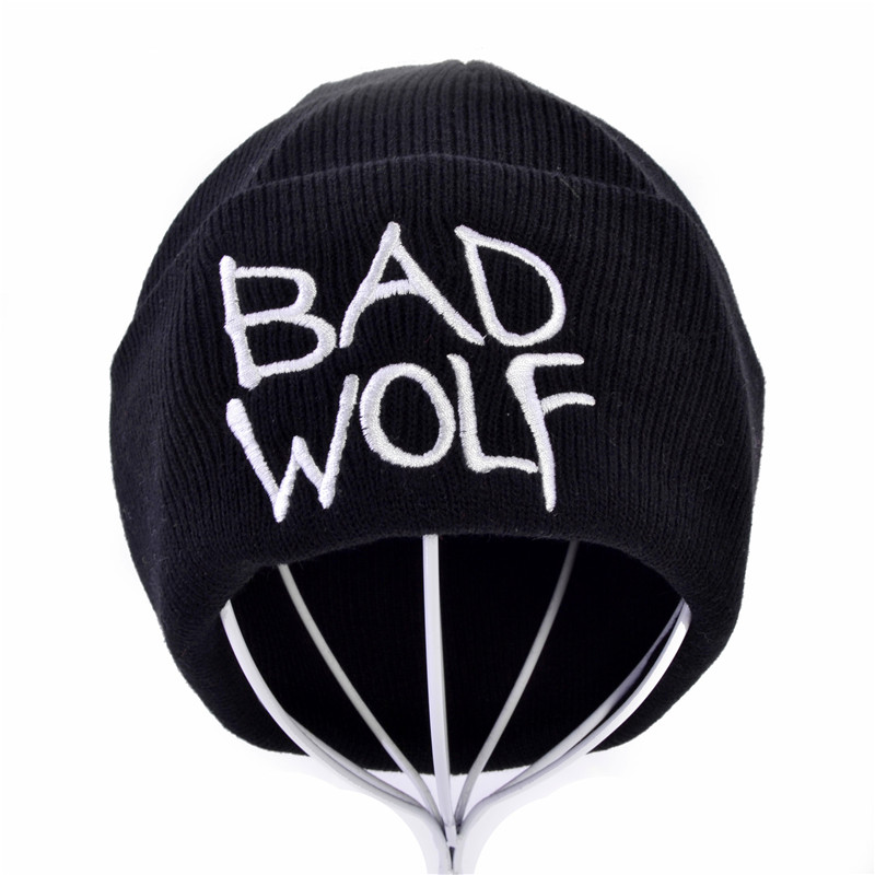Winter Unisex Bad Wolf Letter Embroidery Knit Hat Fashion Keep Warm Wool Knitted Earmuffs Beanies Hats Caps For Men Women