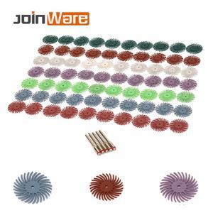 Image 5 - 70 pçs escova abrasiva de cerdas radiais misturadas grit grosso dremel acessórios para ferramenta abrasiva + 5 pçs mandril