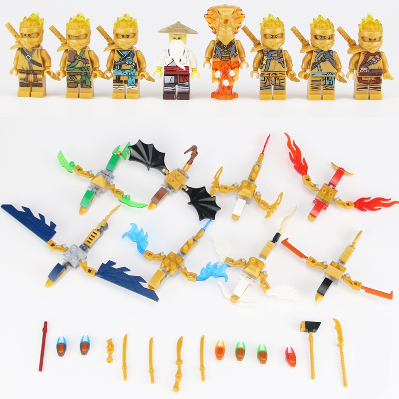 8pcs NinjagoINGlys Figures Heroes Golden Color Nya Lloyd Jay Zane Kai Ninja Figure With Weapons Accessories Building Blocks Toys