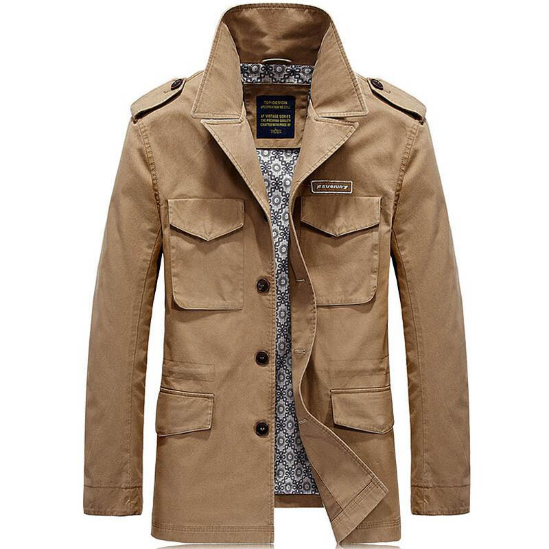 Brand Autumn Trench Jacket Mens Jackets And Coats Solid Casual Cotton Men Windbreaker veste homme Coat Male Plus Size M-4XL