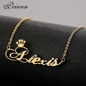 Collar personalizado con nombre personalizado, collares con corona de acero inoxidable para mujer, collar con placa de identificación para hombre, joyería personalizada