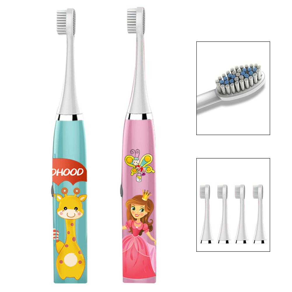Children Kid Cartoon Deer Print Waterproof Battery Sonic Electric Toothbrush with 5 Toothbrush Heads image