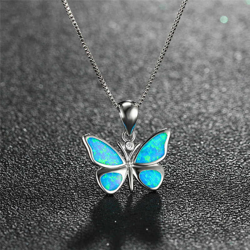 Cute Female Small Butterfly Pendant Necklace Boho White Blue Opal Necklaces For Women Vintage 925 Silver Wedding Jewelry