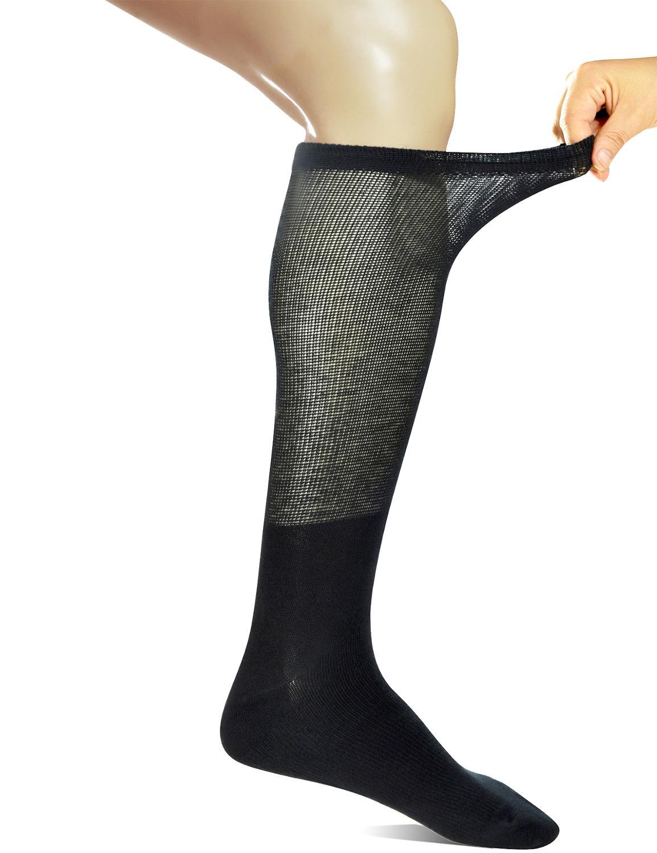Yomandamor/4 пары, мужские носки выше голени, компрессионные, для диабетиков, с бесшовным носком, размер 13-15
