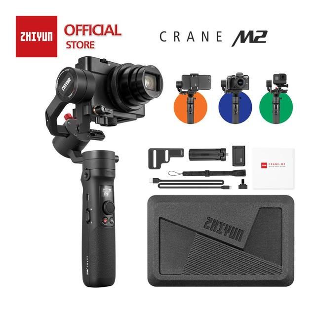 Zhiyun Crane M2 3 Axis Handheld Gimbal Stabilizzatore, per Mirrorless Camera Smart Phone, Action Cam, rapido On/Off, 360 ° di Rotazione