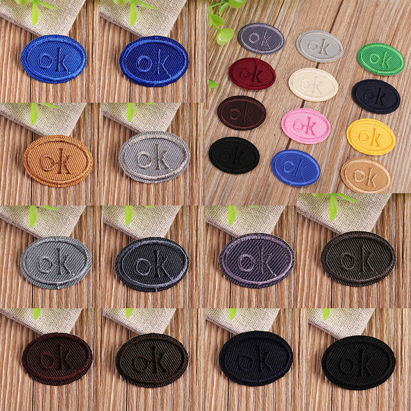 Multicolor OK Oval Heat Transfers Iron On Patches For Clothing DIY Clothes Stickers Decorative Appliques Embroidery Patch