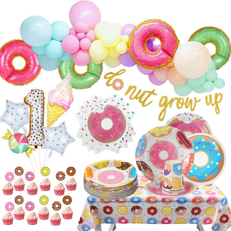 Вечерние пончики на день рождения, пончики на день рождения, вегетарианские воздушные шары макарон, декорация на день рождения для мальчико...