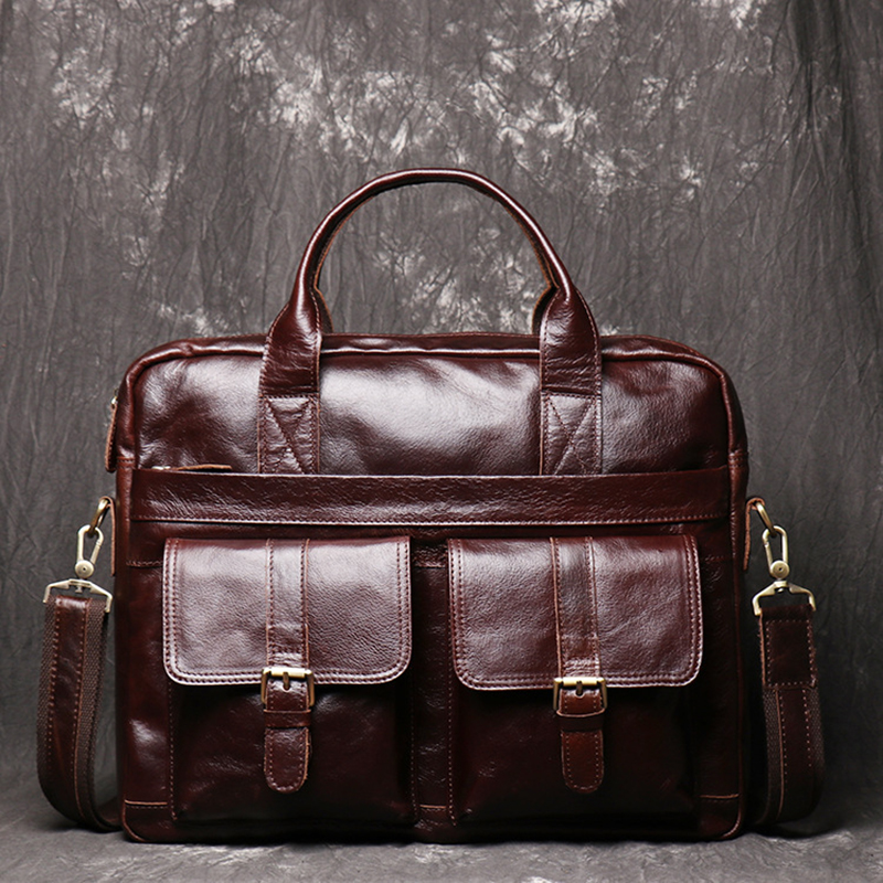 Men's Full Grain Leather Briefcase 15 Inch Laptop Bags For Mens Leather Handbag Business Shoulder Bags