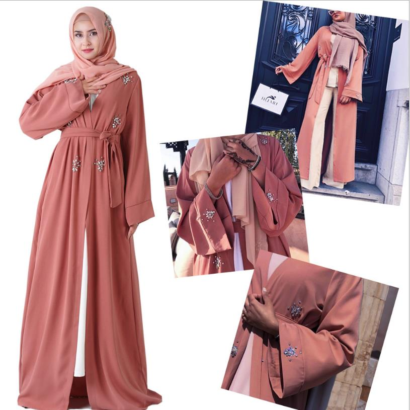Diamond Beading Muslim Abayas Wholesale Dubai Fashion Muslim Full Opening Cardingan Abaya Female Full Length Islamic Robes F1071