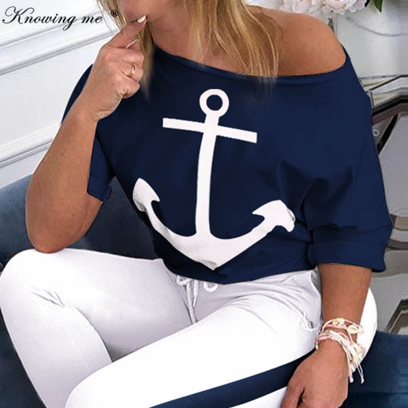 Women Spring Sexy Off Shoulder Tracksuit Sets Lady Boat Anchor Print Tops Two Piece Set Female Elastic Waist Long Pants Sets