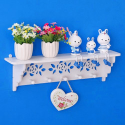 Nowoczesna półka ścienna drewno wiszące uchwyt do przechowywania kluczy sztuczny kwiat dekoracyjna półka dekoracja drzwi domu biały