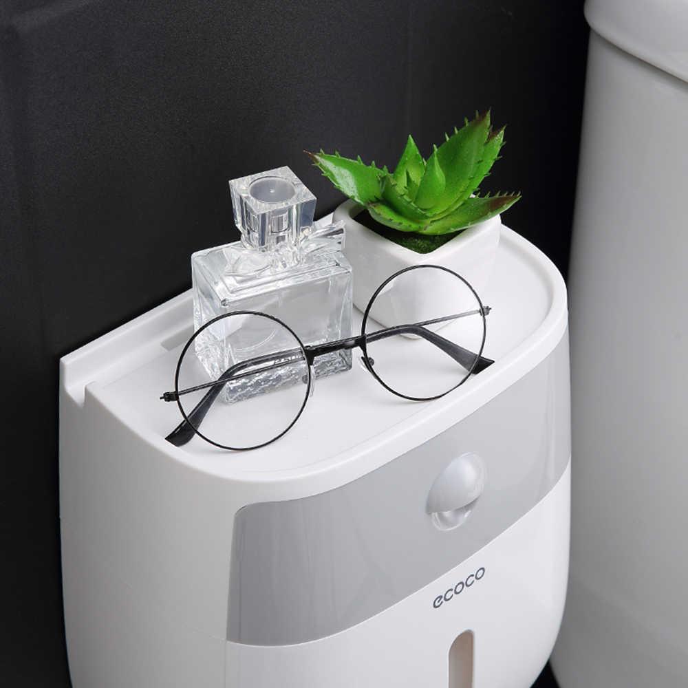 Łazienka wodoodporne pudełko na chusteczki plastikowa wanna uchwyt na papier toaletowy naścienny pudełko na gazety dwuwarstwowy dozownik kuchnia