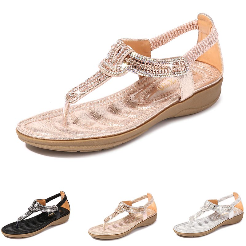Plus Size 42 Women Pink Flat Sandals Open Toe Luxury Rhinestones Slippers Gladiator Summer Beach Bling Chains Crystal Mujer