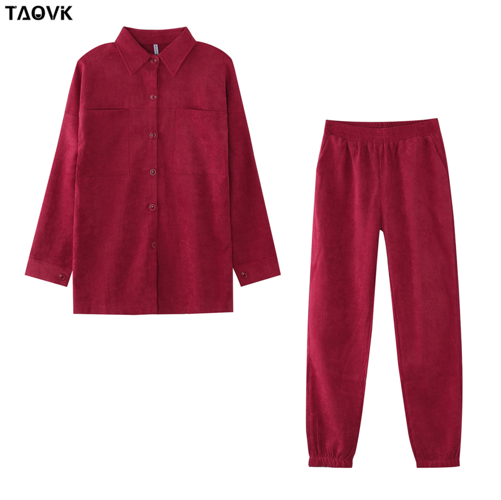 TAOVK Women's tracksuit corduroy  Pinstripe Single-breasted pocket Tops and pants women suits 12