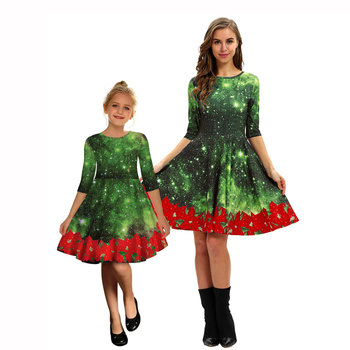 Christmas dress mother daughter mommy and me clothes family matching outfits look women girls mom mum and baby dresses clothing