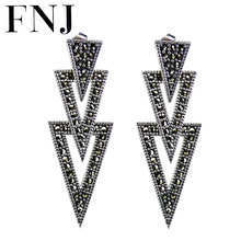 FNJ 925 srebrne kolczyki MARCASITE oświadczenie trójkąt nowa moda oryginalny S925 srebro spadek kolczyk dla kobiet biżuteria