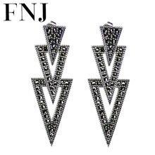 FNJ boucles doreilles en argent 925, boucle doreille en argent Sterling S925, bijoux pour femmes, déclaration de MARCASITE, nouvelle mode, originale
