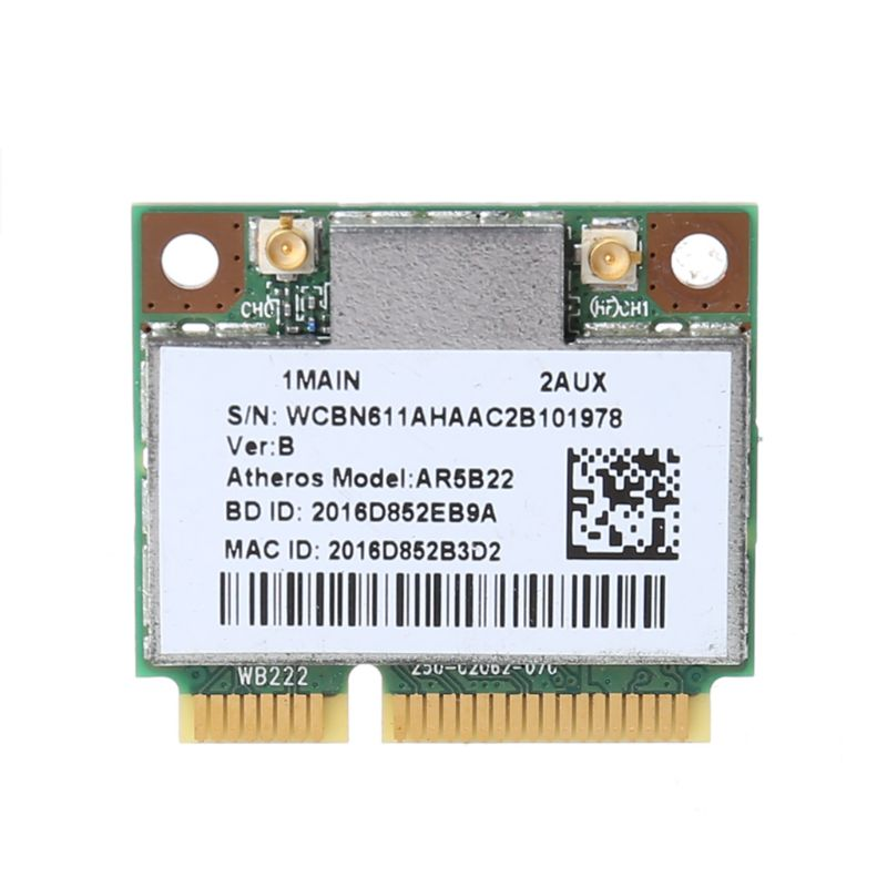 AR9462 AR5B22 WB222 Half Mini PCIe 300Mbps Bluetooth4.0 WLAN Wifi Wireless Card