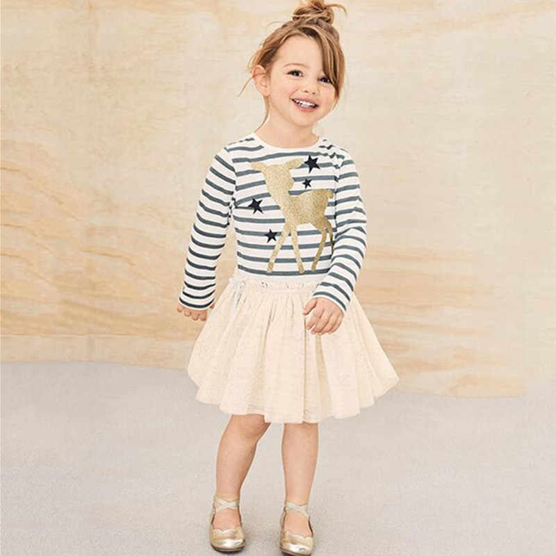 Jumping Meters Kids Dresses For Girls Long Sleeve Cartoon Print Dress New Year Costume Princess Dress Christmas Clothes vestidos