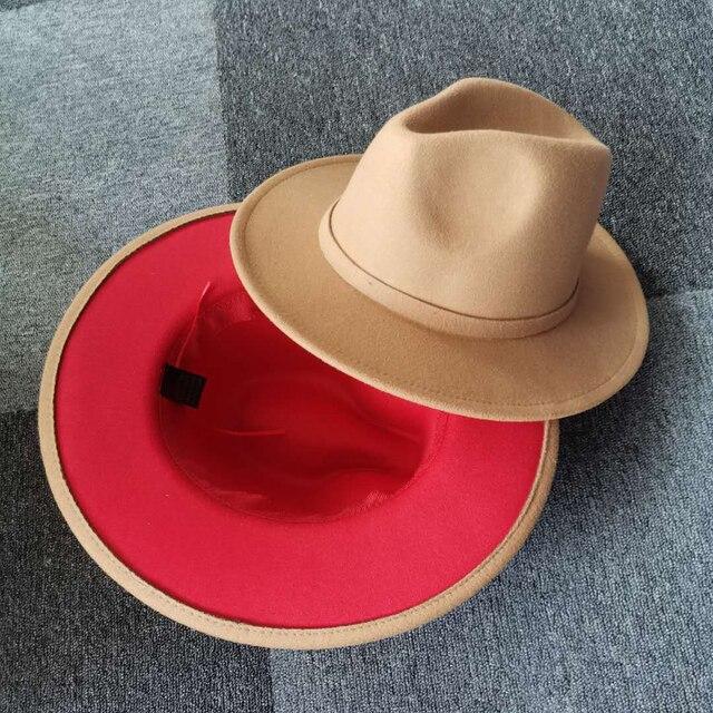 QBHAT 2020 Neue Unisex Camel Rot Patchwork Fühlte Jazz Hut Kappe Männer Frauen Flache Krempe Wolle Mischung Fedora Hüte Panama trilby Vintage Hut