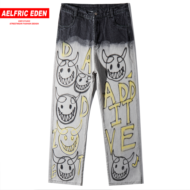 Aelfric Eden Vintage Smiley Graffiti Mens Jeans 2019 Harajuku Hip Hop Trousers Casual Fashion Streetwear Joggers Straight Pants