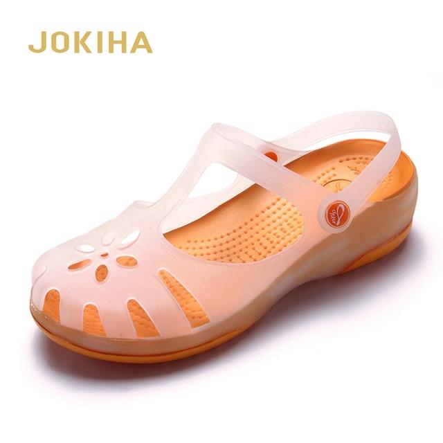 Zuecos de verano transpirables para mujer, sandalias de gelatina, calzado para jardín