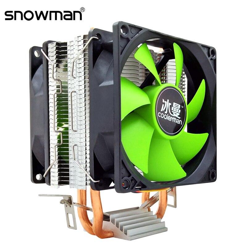Muñeco de nieve de enfriador de CPU 2 tubos de calor 4 Pin PWM 90mm Intel LGA 775, 1150, 1151, 1155, 1366 ventilador de refrigeración de la CPU AM2 AM3 AMD tranquilo PC disipador de calor