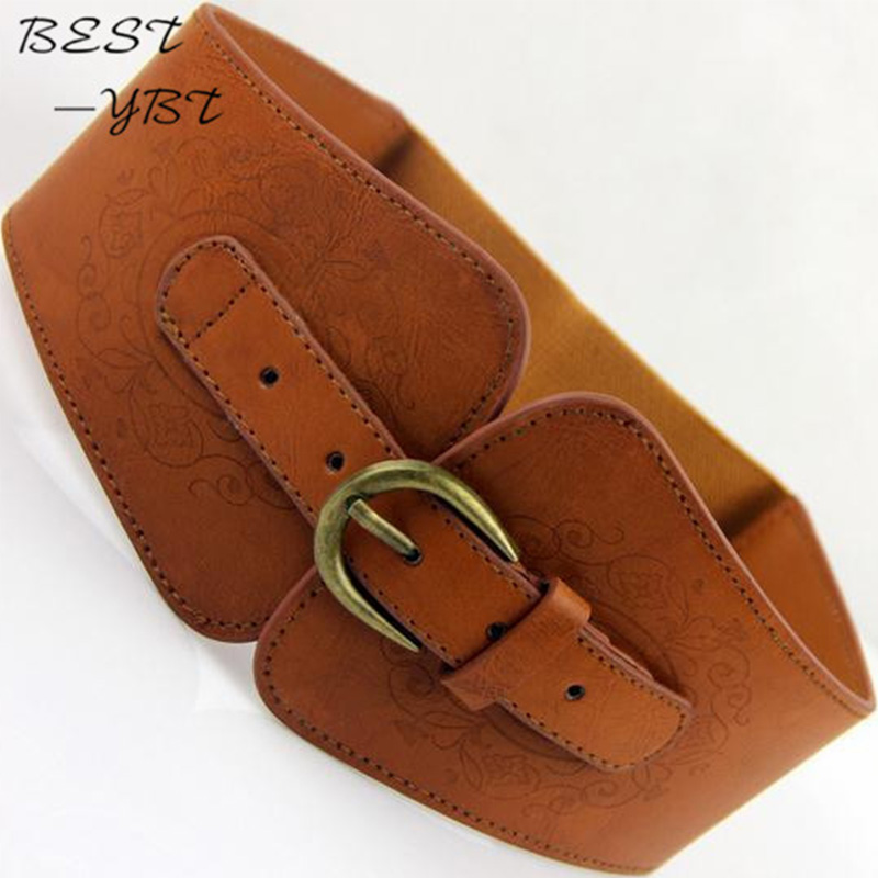 New Retro Totem Belt Women Imitation Leather Pin Buckle Wide Female Designer Fashion Brand Waist Belt Lady's Waist Docoration