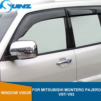 Side Window Deflector For Mitsubishi Montero Pajero V97/ V93 Black Weather Shields Rain Sun Guard Vent Rain Visor SUNZ window visor vent shades sun rain guard for toyota prado fj120 2003 2009