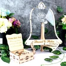 Custom Mr&Mrs Name And Date Wedding 3D Guest Book Alternative Wedding Guest Drop Book Hesrts Guestbook drop box