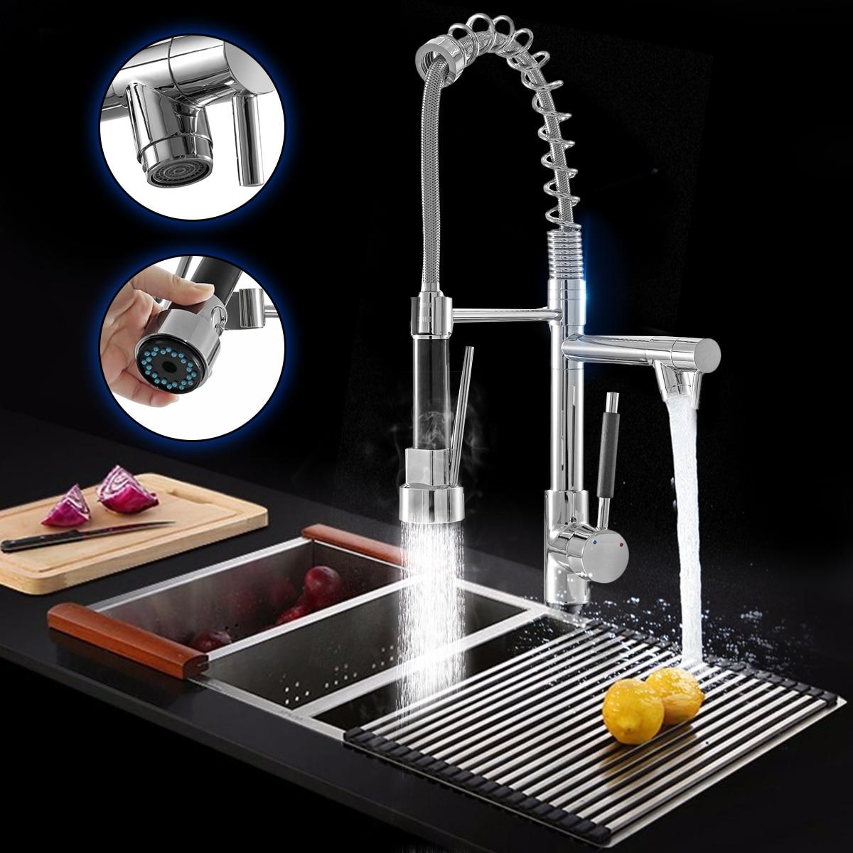 Cuisine Chrome retirer côté ressort robinet pulvérisateur double bec mitigeur robinet évier robinet 360 Rotation pont monté
