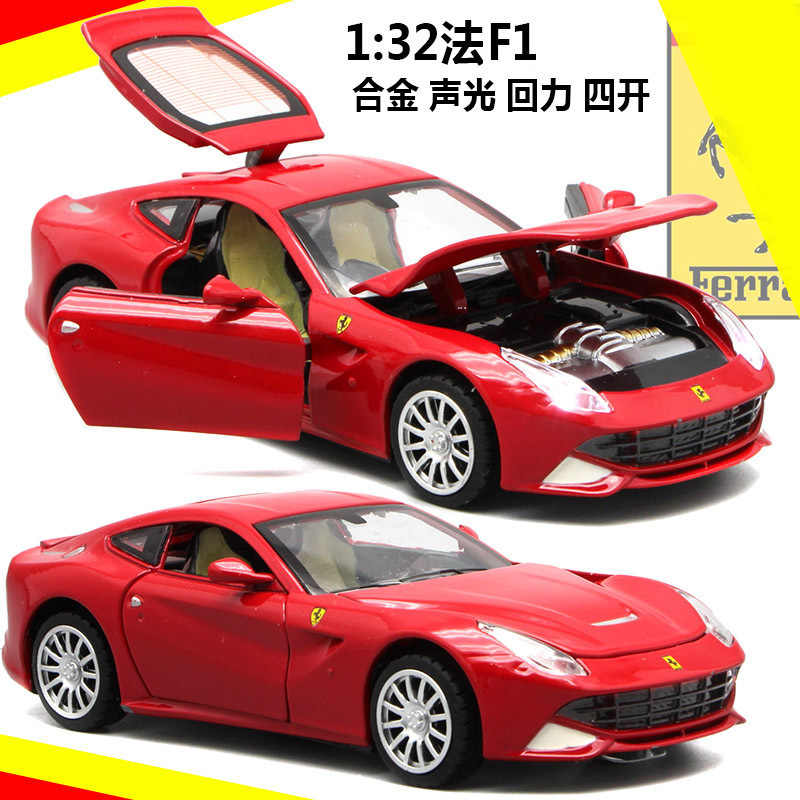 1:32 high simulation Ferrari F12 alloy sports racing car model Sound and light pull back door car toy children's gift