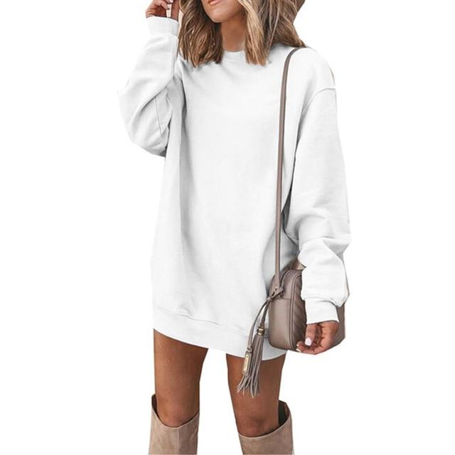 CUHAKCI Fashion Women Sweatshirt Dress Long Sleeve Jumper Autumn Casual Pullover Round Neck Ladies Solid Vestidos Plus Size 4