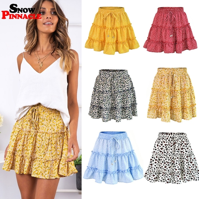women skirts 2019 floral printed A line mini skirts Cotton Ruffles pleated girls skirts beach holidays casual skirts S XXL