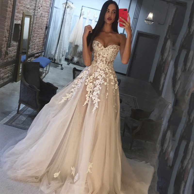 Robe De Mariee Bustier Sweetheart Appliques Tulle Wedding Dress Court Train A Line Princess Wedding Gown 2019 Bridal Dress