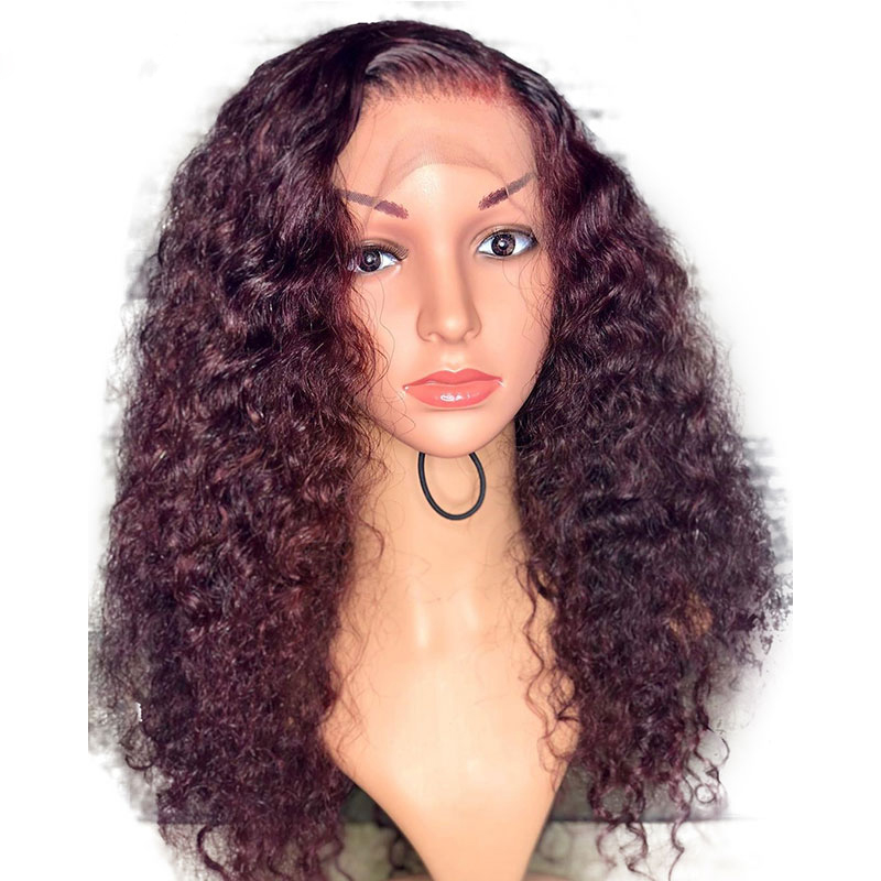 Eversilky Ombre Burgundy 99j Curly 13x4 Lace Front Human Hair Wigs  Brazilian Remy Pre Plucked  With Baby Hair Free Part Wigs