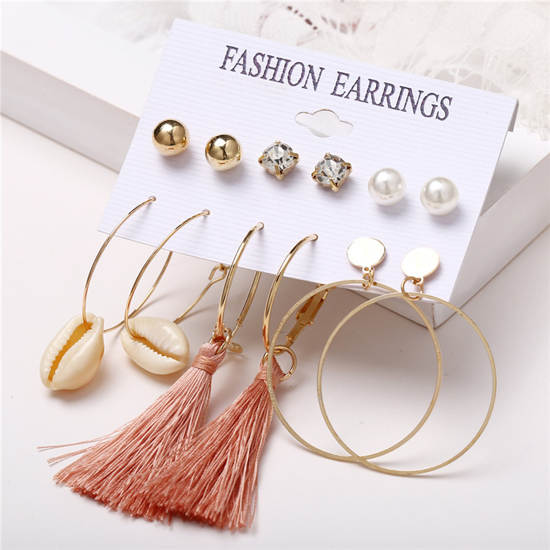 H711ca7e731a74a1f93365a37b906142fL - IF ME Fashion Vintage Gold Pearl Round Circle Drop Earrings Set For Women Girl Large Acrylic Tortoise shell Dangle Ear Jewelry
