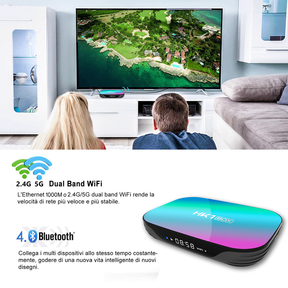 HK1 BOX 8K 4GB 128GB TV Box Amlogic S905X3 Android 9.0 1000M Dual Wifi 4K 60fps GooglePlay Netflix Youtube Media Player