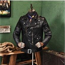YR!Free shipping.2020 batik Washed horseskin jacket,motorbiker style leather clo