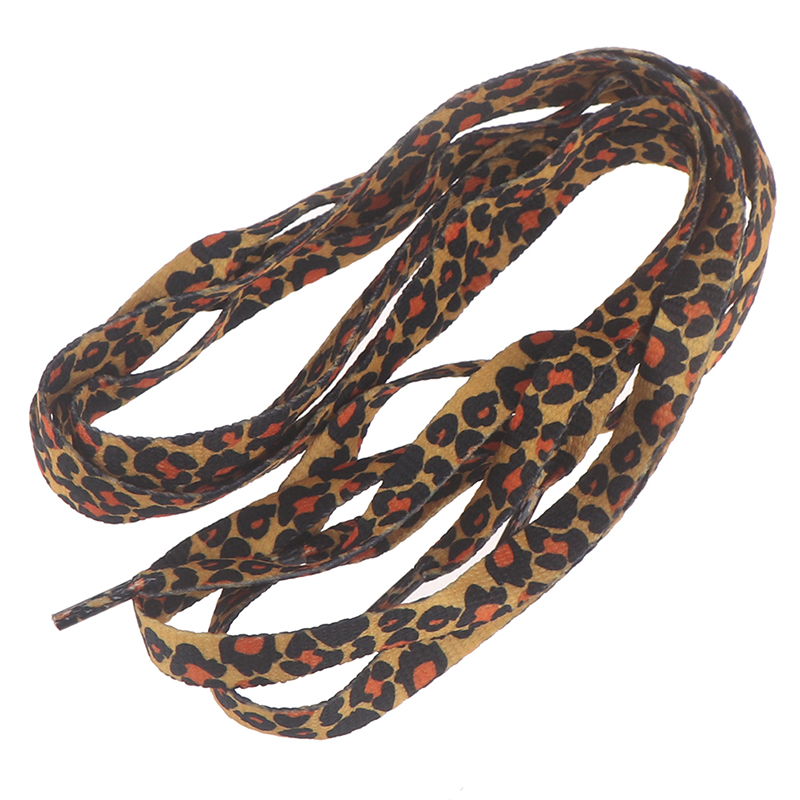 1Pair 1cm*120cm Fashion Leopard Printed Shoelaces Flat Elastic Shoe Laces Applicable To All Kinds Of Casual Sports Shoes